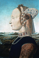 Urbino:  Piero Della Francesca, Duchess of Urbino.   Painting at Galleria Uffizi.  Reference only.