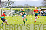 Patrice Diggin (capt)Kerry) in action with Niamh Canavan (Carlow)  in the An Cumann Amógaíochta Minor (C)) All Ireland Championship Play off In Ardfert on Saturday.