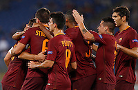 Calcio, Europa League: Roma vs Astra Giurgiu. Roma, stadio Olimpico, 29 settembre 2016.<br /> Roma&rsquo;s Kevin Strootman, left, back to camera (n. 6) celebrates with teammates after scoring during the Europa League Group E soccer match between Roma and Astra Giurgiu at Rome's Olympic stadium, 29 September 2016. Roma won 4-0.<br /> UPDATE IMAGES PRESS/Riccardo De Luca