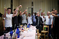Team Orica-GreenEdge celebrates their TTT win and 'maglia rosa' for Simon Gerrans at the team hotel<br /> <br /> 2015 Giro