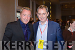 Michael Flatley and Jerry Kennelly at the Young Entrepreneur finals in the Malton Hotel on Thursday