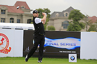 Stephen Gallacher (SCO) tees off the 1st tee during Wednesday's Pro-Am Day of the 2014 BMW Masters held at Lake Malaren, Shanghai, China 29th October 2014.<br /> Picture: Eoin Clarke www.golffile.ie