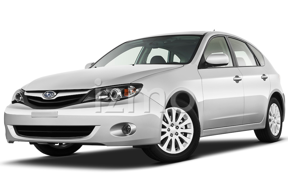 Low aggressive front three quarter view of a 2010 Subaru Impreza Wagon 2.5i Premium.