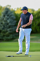 Phil Mickelson (USA) celebrates winning the match on 18  during round 2 Four-Ball of the 2017 President's Cup, Liberty National Golf Club, Jersey City, New Jersey, USA. 9/29/2017.<br /> Picture: Golffile | Ken Murray<br /> <br /> All photo usage must carry mandatory copyright credit (&copy; Golffile | Ken Murray)