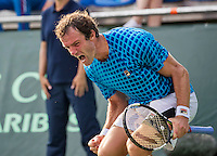 Moscow, Russia, 15 th July, 2016, Tennis,  Davis Cup Russia-Netherlands, Second rubber: Teymuraz Gabashvili (RUS) screams it out after defeating Thiemo de Bakker (NED) , and give Russia a comfortable 2-0 lead.<br /> Photo: Henk Koster/tennisimages.com