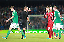 Match Referee Danny Makkelie shows Portugal's Paul Meireles and Portugal's Christiano Ronaldo the red card for Portugal's  Helder Postiga, following a head butt's  against Northern Ireland's Gareth McAuley during the first half a World Cup Qualifier in Belfast, Friday September 6th, 2013.  Photo/Paul McErlane