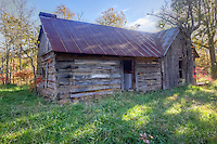 An old log cabin on Cave Mountain, in Newton County Arkansas, near the Buffalo National River.