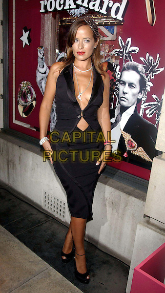 JADE JAGGER.Arriving At The Gerrad Party, Old Bond Street.black skirt, black vest, plunging neckline, cleavage, revealing, full length, full-length.www.capitalpictures.com.sales@capitalpictures.com.©Capital Pictures