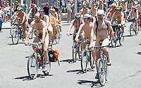 More than a hundred cyclists gathered in the Spanish capital as they took part in the city's 10th Naked Bike Ride aimed at highlighting the dependency on oil and road safety issues for cyclists.<br /> <br /> Photo: Roberto Mariscal / ALFAQUI