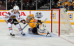 NASHVILLE, TENNESSEE - JANUARY 19:  Patrick Kane #88 of the Chicago Blackhawks scores a breakaway goal against goalie Pekka Rinne #35 of the Nashville Predators during the second period at Bridgestone Arena on January 19, 2016 in Nashville, Tennessee.  (Photo by Frederick Breedon/Getty Images)