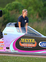 Apr 22, 2017; Baytown, TX, USA; NHRA top alcohol dragster driver Megan Meyer during qualifying for the Springnationals at Royal Purple Raceway. Mandatory Credit: Mark J. Rebilas-USA TODAY Sports
