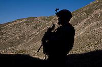 Soldiers from Delta-4, 1-26 Infantry patrol on a mission to flush out Taliban fighters in Tantil in the Pesh Valley.