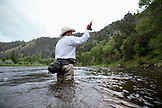 USA, Wyoming, Encampment, an angler fly fishes for trout on the North Platte river