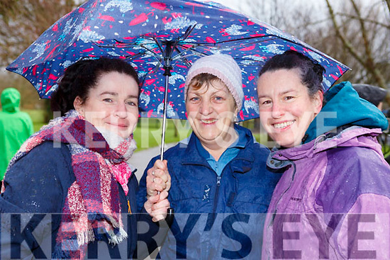 Majella Ahern (Killarney), Madeline Brosnan (Kilmoyley) and Trina Daly (Tralee) taking shelter from the weather at the Tralee Parkrun's 3rd birthday run in the Tralee town park on Saturday morning last.