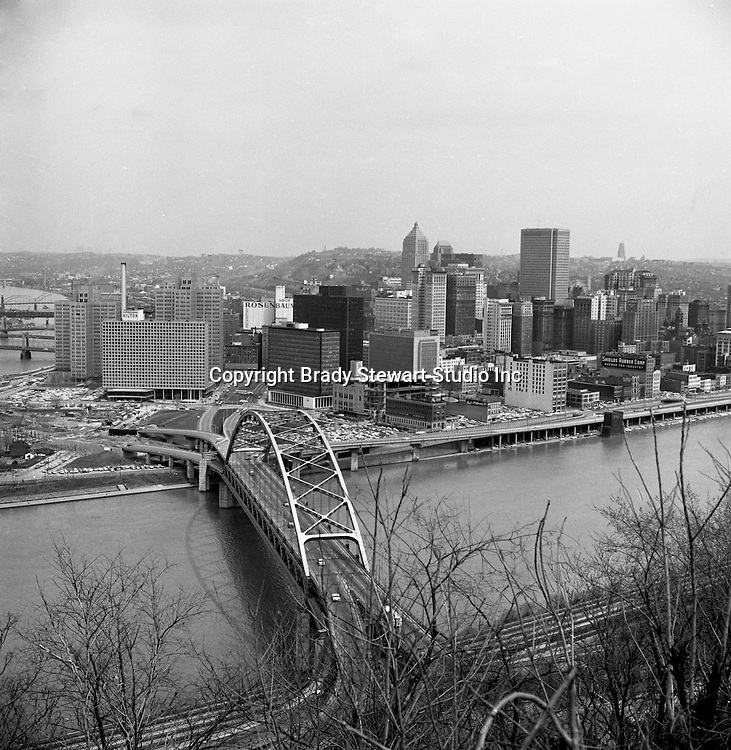 Pittsburgh PA:  View of the Point from Mount Washington - 1962