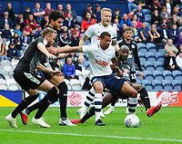 Preston North End's Lukas Nmecha vies for possession with Reading's Sone Aluko<br /> <br /> Photographer Chris Vaughan/CameraSport<br /> <br /> The EFL Sky Bet Championship - Preston North End v Reading - Saturday 15th September 2018 - Deepdale - Preston<br /> <br /> World Copyright &copy; 2018 CameraSport. All rights reserved. 43 Linden Ave. Countesthorpe. Leicester. England. LE8 5PG - Tel: +44 (0) 116 277 4147 - admin@camerasport.com - www.camerasport.com