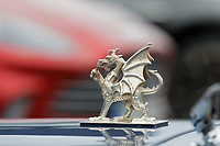 Pictured: A Welsh Dragon on the bonnet of the 1960 Aston Martin DB6 Volante owned by Prince Charles. Friday 21 February 2020<br /> Re: HRH Prince Charles visits the Aston Martin Lagonda factory in St Athan, south Wales, UK.