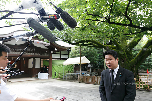 Japanese politician Masamune Wada answers questions from the press at Yasukuni Shrine on the 72nd anniversary of Japan's surrender in World War II on August 15, 2017, Tokyo, Japan. Prime Minister Shinzo Abe was not among the lawmakers to visit the Shrine and instead sent a ritual offering to avoid angering neighboring countries who also associate Yasukuni with war criminals and Japan's imperial past. (Photo by Rodrigo Reyes Marin/AFLO)