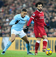 Liverpool's Mohamed Salah holds off the challenge from Manchester City's Danilo<br /> <br /> Photographer Alex Dodd/CameraSport<br /> <br /> The Premier League - Liverpool v Manchester City - Sunday 14th January 2018 - Anfield - Liverpool<br /> <br /> World Copyright &copy; 2018 CameraSport. All rights reserved. 43 Linden Ave. Countesthorpe. Leicester. England. LE8 5PG - Tel: +44 (0) 116 277 4147 - admin@camerasport.com - www.camerasport.com