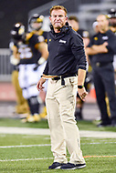 Baltimore, MD - OCT 14, 2017: Towson Tigers head coach Rob Ambrose is not happy with a call the referee made during game between Towson and Richmond at Johnny Unitas Stadium in Baltimore, MD. The Spiders defeated the Tigers 23-3. (Photo by Phil Peters/Media Images International)
