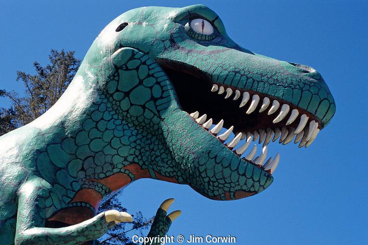 Prehistoric Gardens along the Oregon coast t-rex tyrannosaurus rex along tour trail Port Orford Oregon State USA