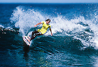 Wendy Botha (ZAF) surfing Winki Pop at Bells Beach, Victoria, Australia in 1990. Photo: joliphotos.com