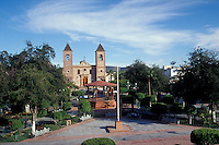 The Plaza Constitucion or Jardin Velazco in the city of La Paz and the Catedral de Nuestra Senora de la Paz in the city of La Paz, Baja California Sur, Mexico