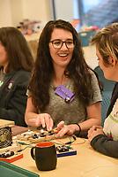 NWA Democrat-Gazette/FLIP PUTTHOFF <br /> Christina Bolden works Wednesday June 6 2018 on an electricity project at Maker Camp.