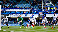 Paris Cowan-Hall of Wycombe Wanderers rushes in to head wycombe into the lead during the FA Cup 1st round match between Portsmouth and Wycombe Wanderers at Fratton Park, Portsmouth, England on the 5th November 2016. Photo by Liam McAvoy.