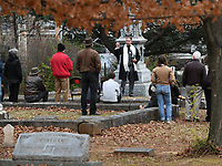 NWA Democrat-Gazette/J.T. WAMPLER Grant Hockenbrough of Fayetteville portrays Lafayette Gregg Sunday Nov. 12, 2017 during a History Comes Alive program at Evergreen Cemetery in Fayetteville. The two-day event  was held to raise money for maintenance and improvement projects at the cemetery that was established in 1847. It has the graves of several prominent Arkansans including the stateÕs first congressman Archibald Yell. The Evergreen Cemetery Association so far has raised about $13,000 of $22,050 needed to restore YellÕs crumbling tombstone. Actors from Artists Laboratory Theatre, a Fayetteville collective, will portray several historical figures as folks walk around the cemetery, including Archibald Yell, Roberta Fulbright, Lafayette Gregg and others.