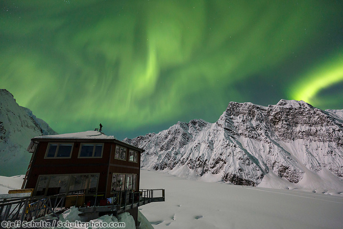 Aurora Borealis (Northern Lights) and Sheldon Chalet in the Alaska Range in the Don Sheldon Amphitheater