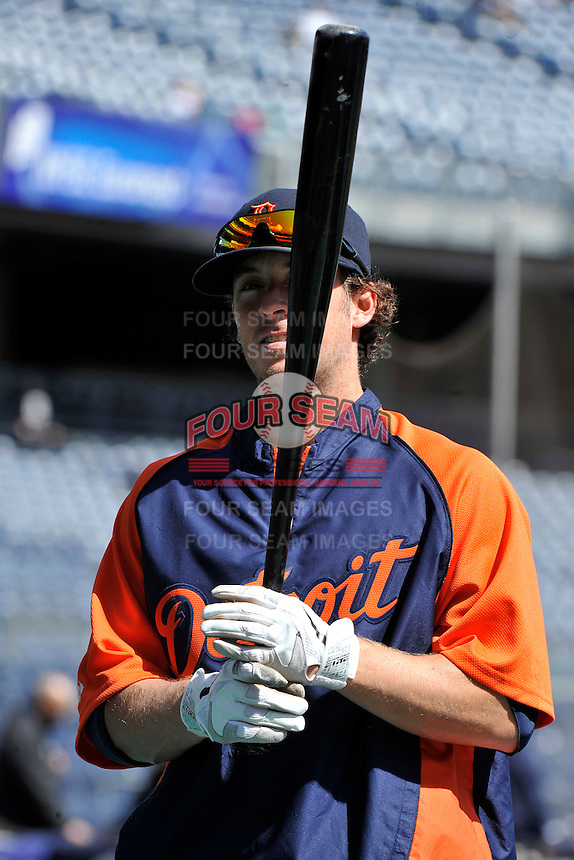 Apr 03, 2011; Bronx, NY, USA; Detroit Tigers infielder Will Rhymes (28) during game against the New York Yankees at Yankee Stadium. Tigers defeated the Yankees 10-7. Mandatory Credit: Tomasso De Rosa