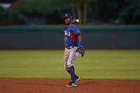 AZL Rangers second baseman Keithron Moss (3) throws to first base during an Arizona League game against the AZL Dodgers Mota at Camelback Ranch on June 18, 2019 in Glendale, Arizona. AZL Dodgers Mota defeated AZL Rangers 13-4. (Zachary Lucy/Four Seam Images)
