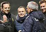 2018-02-17 / voetbal / seizoen 2017-2018 / Oosterzonen - Berchem / Coach Kevin Van Haesendonck (M) (Berchem) viert de overwinning tegen Oosterzonen