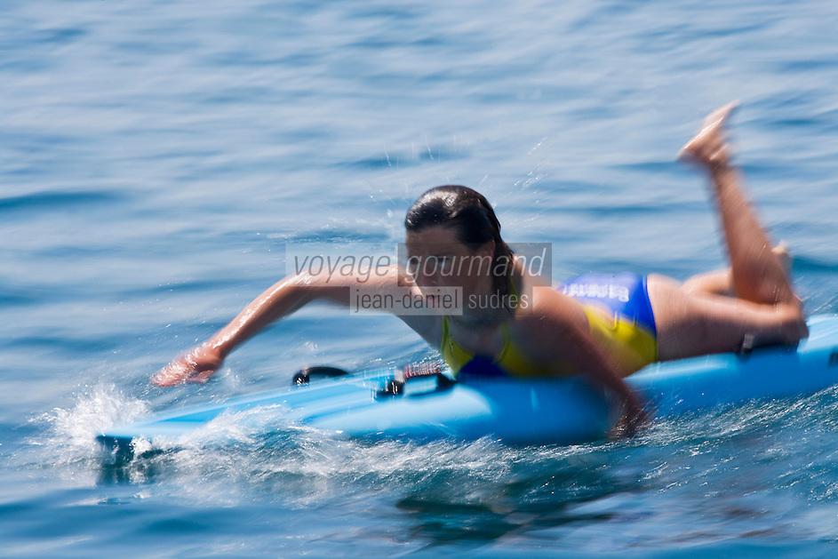 Europe/France/Aquitaine/40/Landes/ Capbreton: Stéphanie Barneix championne du monde de paddleboard lors d'une compétition   [Non destiné à un usage publicitaire - Not intended for an advertising use]