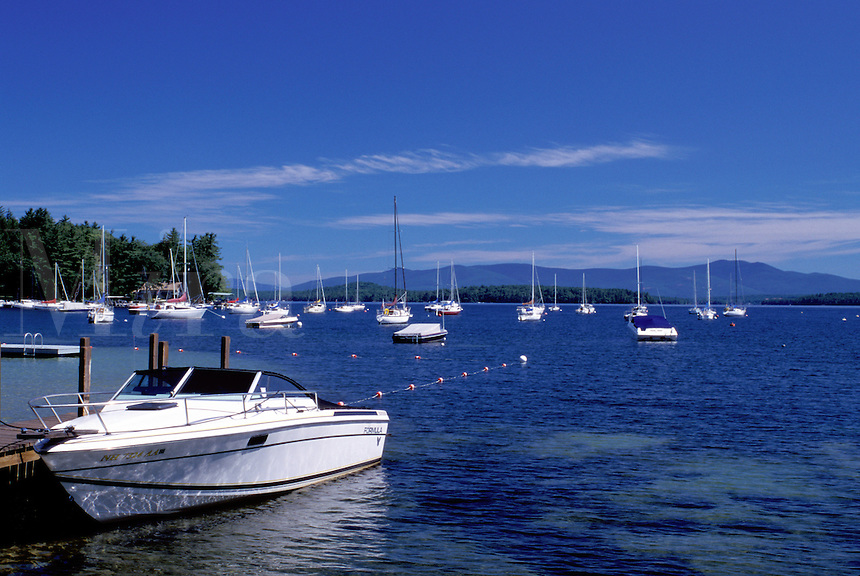 New Hampshire, Glendale, NH, Boats buoyed at a marina on scenic Lake Winnipesaukee.