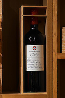 La Forge Corbieres, 2002 in wooden box. Domaine Gerard Bertrand, Chateau l'Hospitalet. La Clape. Languedoc. France. Europe. Bottle.