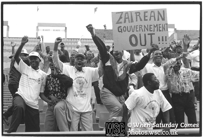 Zaire 2 Liberia 0, 25/02/1996. FNB Stadium, Johannesburg. African Cup of Nations, South Africa 1996<br /> Zaire fans. (Exact date tbc). Photo by Tony Davis