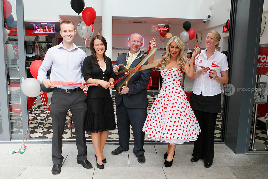 25/8/2011.Matt and Kelly Finn the first Eddie rockets franchisee in Kildare are pictured with Kildare Mayor, Clr Michael Nolan, Model Tiffany Stanley and manager Mary Murphy at the official opening of the new Eddie Rockets City Diner in Nass Co Kildare. Picture James Horan/Collins Photos