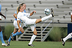 16 September 2005: Leigh Ann Robinson (front) uses an overhead kick to clear the ball away from Heather O'Reilly (behind). The North Carolina Tarheels defeated the San Diego Toreros 3-0 at Duke University's Koskinen Stadium in Durham, NC in a NCAA Division I women's soccer game.