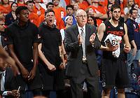 Miami head coach Jim Larranaga during the game Tuesday, Jan. 12, 2016 in Charlottesville, Va. Virginia defeated Miami 66-58. Photo/Andrew Shurtleff