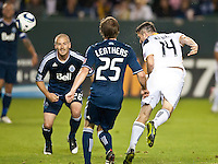 CARSON, CA - September 17, 2011: LA Galaxy forward Robbie Keane's (15) goal shot during the match between LA Galaxy and Vancouver Whitecaps at the Home Depot Center in Carson, California. Final score LA Galaxy 3, Vancouver Whitecaps 0.