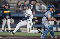 Michigan Wolverines first baseman Jimmy Kerr (15) slides at the plate against the San Jose State Spartans on March 27, 2019 in Game 2 of the NCAA baseball doubleheader at Ray Fisher Stadium in Ann Arbor, Michigan. Michigan defeated San Jose State 3-0. (Andrew Woolley/Four Seam Images)