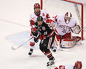 Ryan Ruikka (BU - 2), Steve Morra (NU - 12), Sean Maguire (BU - 31) - The Boston University Terriers defeated the visiting Northeastern University Huskies 5-0 on senior night Saturday, March 9, 2013, at Agganis Arena in Boston, Massachusetts.