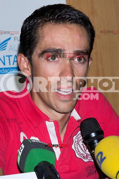 13.08.2012. The cyclist Alberto Contador presented at the Hotel Las Artes in Pinto charity campaign to collect bicycles for the Tour of Spain. In the image Alberto Contador (Alterphotos/Marta Gonzalez) /NortePhoto.com*<br /> <br /> **CREDITO*OBLIGATORIO** <br /> *No*Venta*A*Terceros*<br /> *No*Sale*So*third*<br /> *** No Se Permite Hacer Archivo**