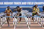 COLLEGE STATION, TX - MARCH 11: Rushelle Burton of Texas, Devynne Charlton of Purdue and Sasha Wallace of Oregon compete in the 60 meter hurdles during the Division I Men's and Women's Indoor Track & Field Championship held at the Gilliam Indoor Track Stadium on the Texas A&M University campus on March 11, 2017 in College Station, Texas. (Photo by Michael Starghill/NCAA Photos/NCAA Photos via Getty Images)