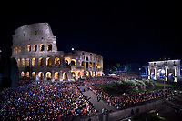 Colosseum.Pope Francis prays during the Via Crucis (Way of the Cross) torchlight procession at the ancient Colosseum (Colosseo, Colisee) on Good Friday, on April 19, 2019 in Rome.