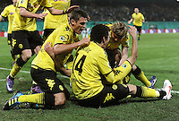 FUSSBALL   DFB POKAL   SAISON 2011/2012   HALBFINALE SpVgg Greuther Fuerth - Borussia Dortmund                  20.03.2012 Jubel nach dem Tor zum 0:1, Sebastian Kehl, Ivan Perisic, Ilkay Guendogan, Marcel Schmelzer (v.li., Borussia Dortmund)