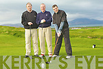 TEEING: Peter Naughton teeing on the first green on Sunday at Tralee Golf Club looking on were l-r: Martin Mitchel and James Ormonde..