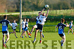 Terrence O'Brien of the Ulster University takes aerial possession over DJ Murphy of I T Tralee in the 1st round game of the Sigerson Cup Senior football in John Mitchells on Sunday.